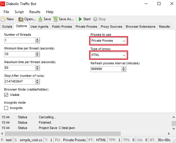 Diabolic Traffic Bot Options