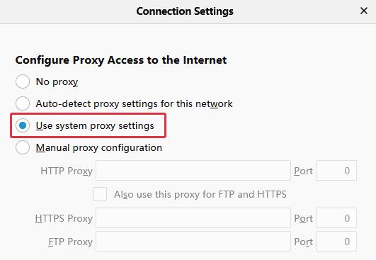 Firefox Uses System Proxy
