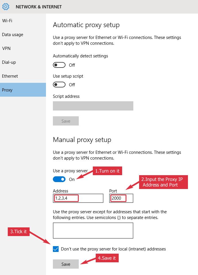 Windows 10 Proxy Setup